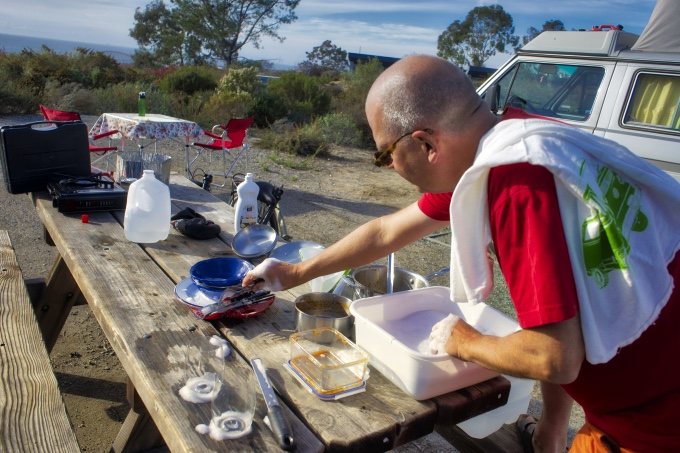 campsite dishwashing