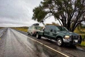 van gets towed