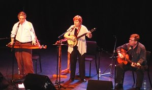 On-stage at Square Roots/New York State Arts' celebration of Jean Ritchie's legacy: Peter Pickow (right) with David Massengill and Susan Trump