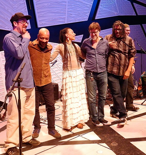 Martha Redbone with (left to right) Aarton Whitby, Charlie Burnham, Tony Mason, Fred Cash and John Caban