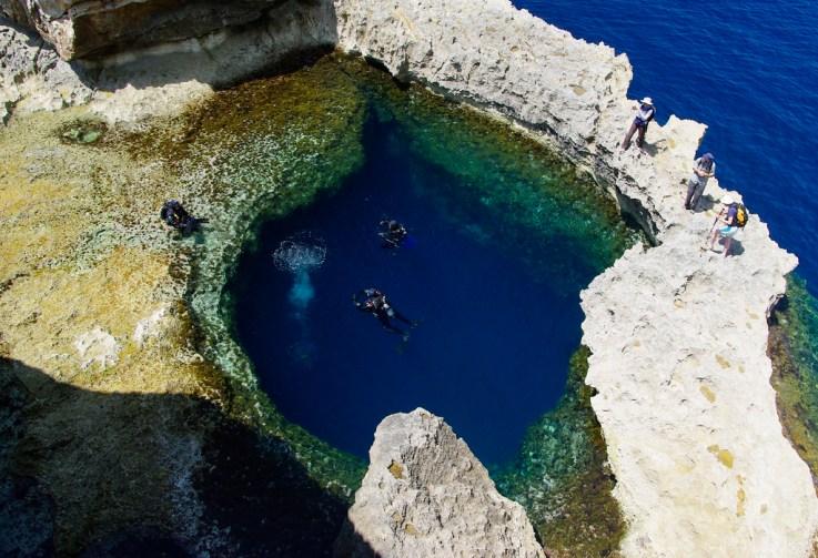 Überwasserbild des Blue Hole auf Malta