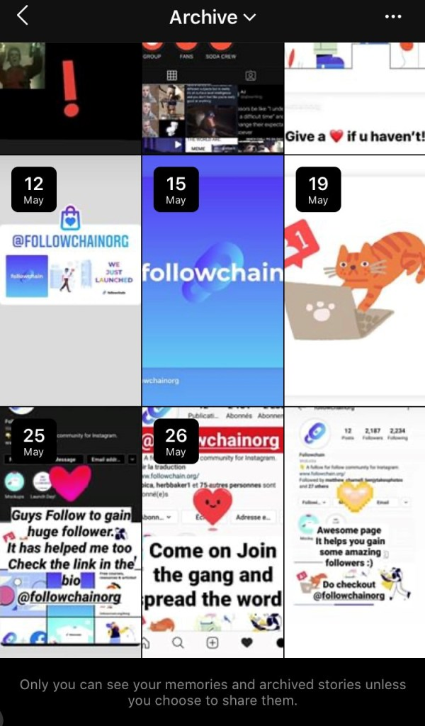 Instagram archived stories