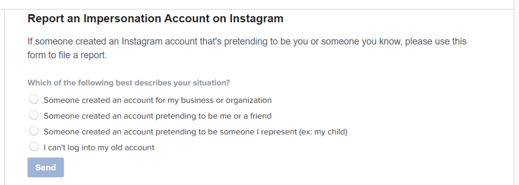 Instagram Impersonation Form