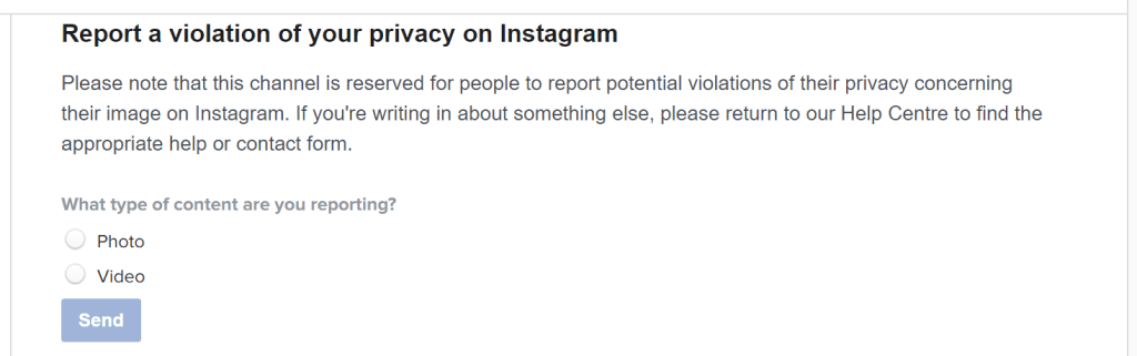 Instagram Privacy Violation Form