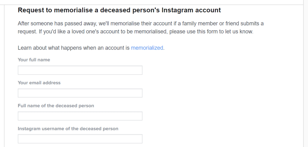 Instagram Memorialized Form