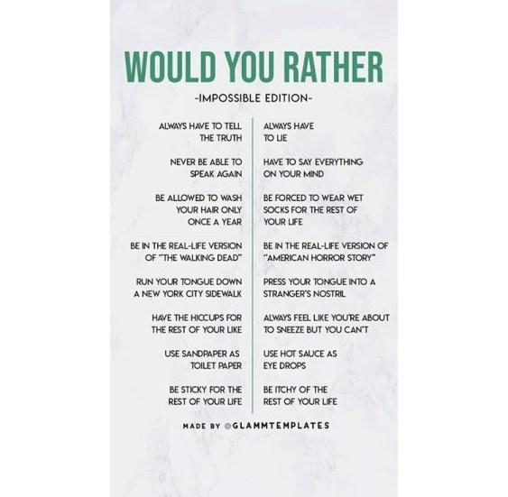 Relationship would you rather questions