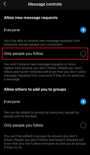 Instagram disable message requests