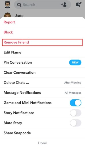 Remove friend on Snapchat