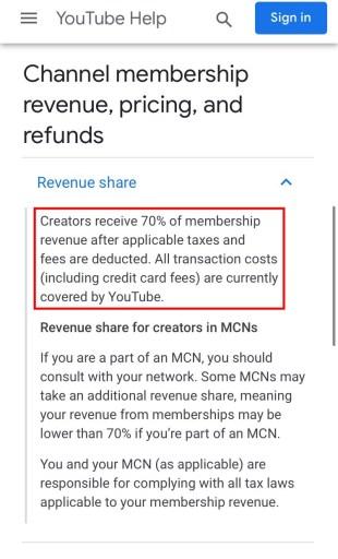 YouTube channel membership revenue share