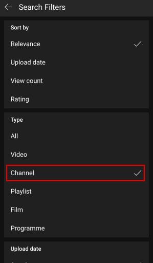 YouTube search filter