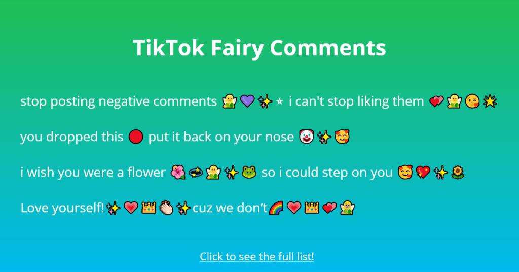 101 Tiktok Fairy Comments To Copy And Paste Followchain