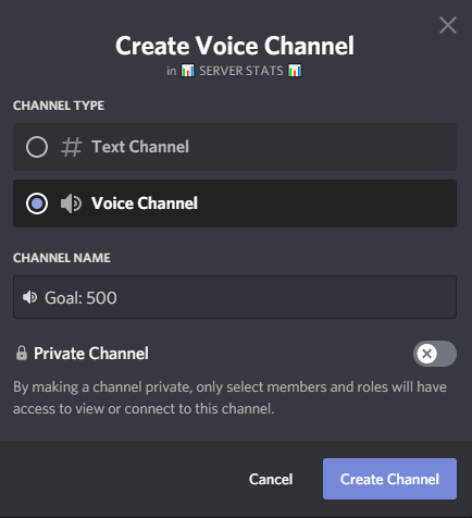 Discord goal channel