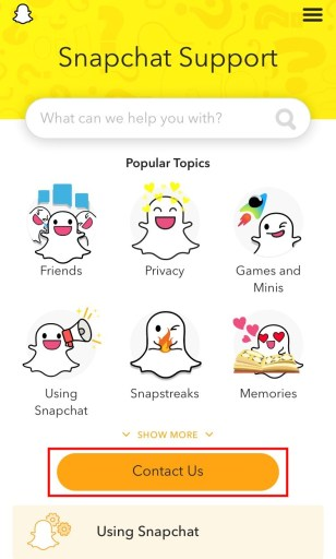 Snapchat contact us