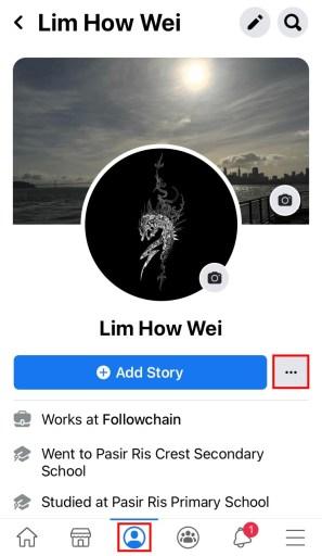 Facebook profile three dots