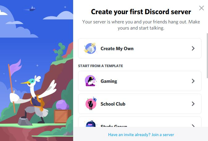 Choose to create your Discord server from scratch or start from a template