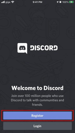 Enter the Discord app and click on register