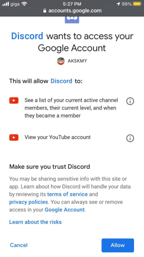 Discord wants to access your Google Account