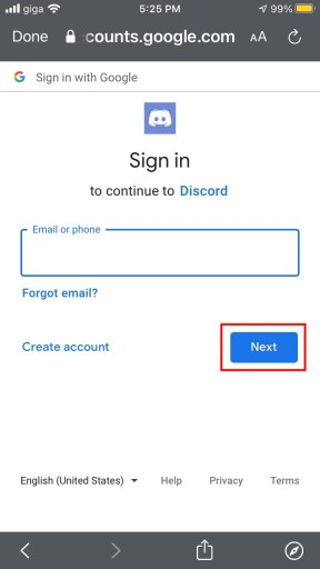 Sign in with Google to continue to Discord