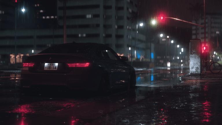 bmw m4 night rain wallpaper