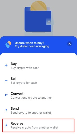 Receive cryptocurrency from Coinbase