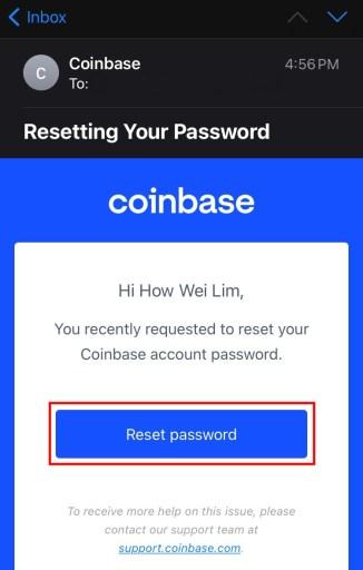 Reset password Coinbase