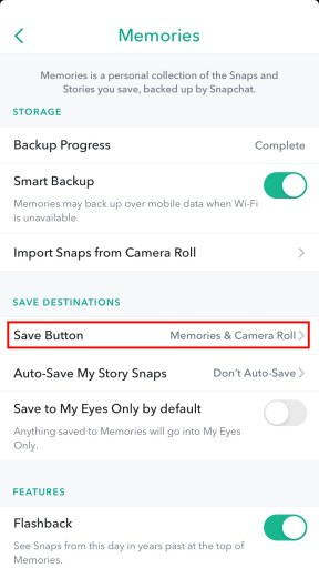 Snapchat save button