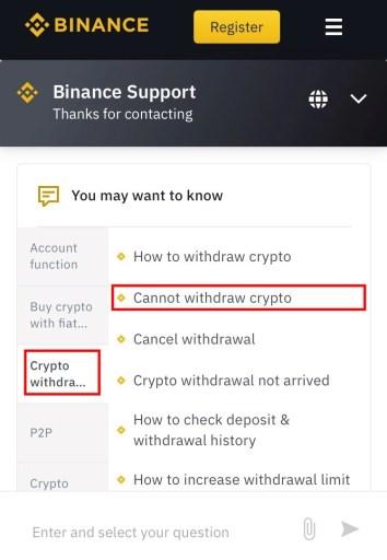 Binance withdrawal suspended