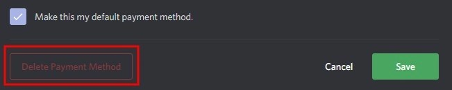 How to cancel credit card on Discord
