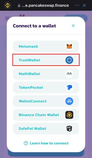 Connect to a wallet on PancakeSwap