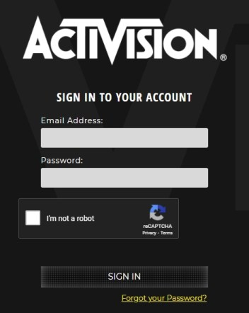 Activision login page