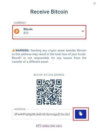 BlockFi Bitcoin address