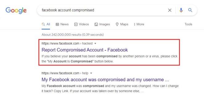 Report compromised account Facebook
