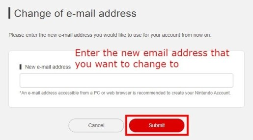 Change your Nintendo email