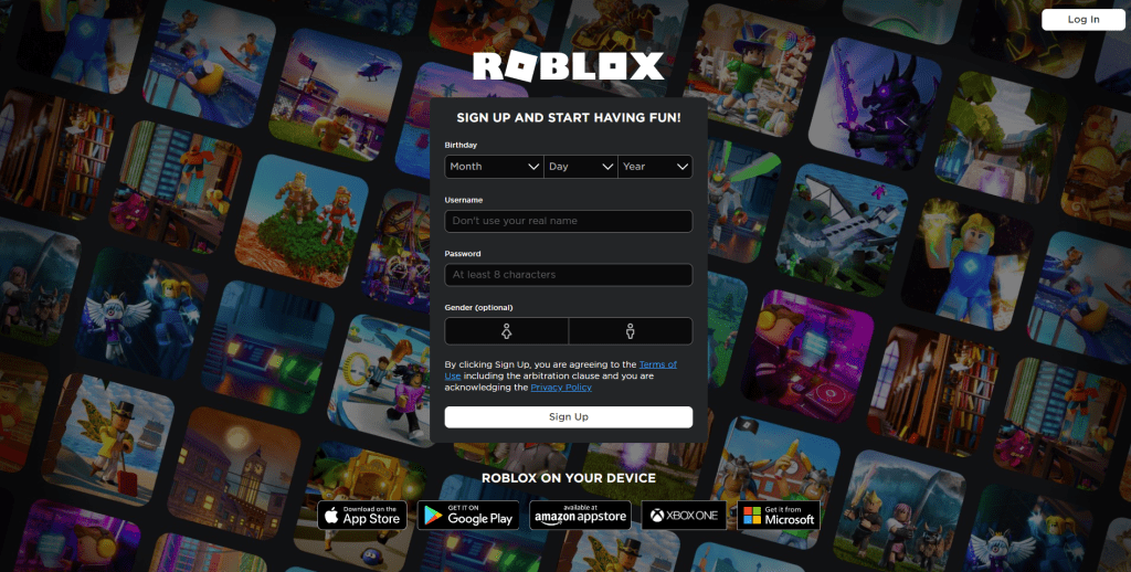 Sign up for Roblox