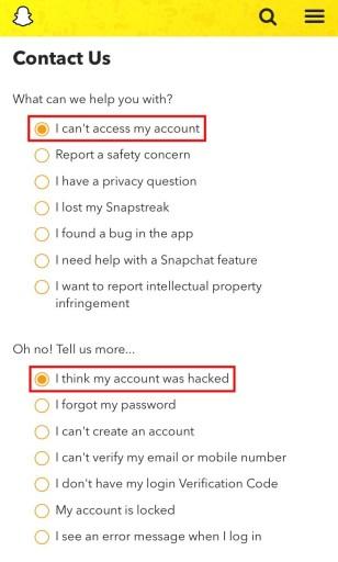 Snapchat contact form