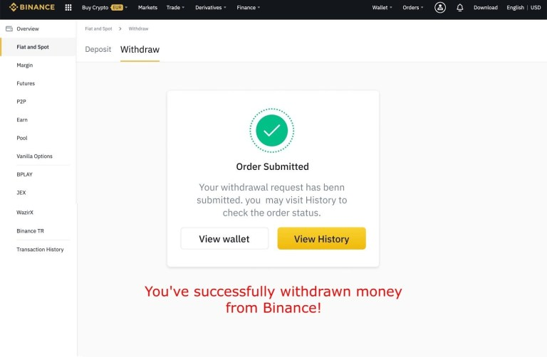 Order submitted on Binance