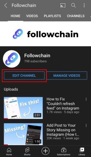 Edit your channel on YouTube mobile
