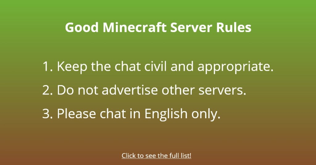 Good Minecraft Server Rules