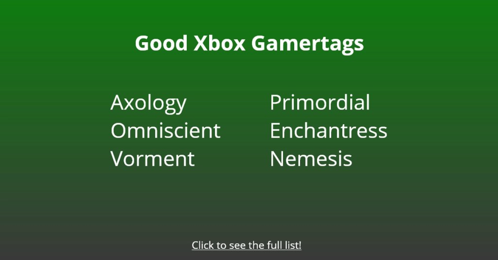 Good Xbox Gametags Names