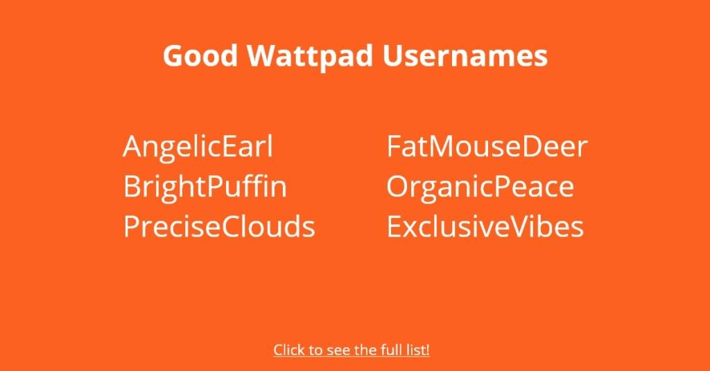 Good Wattpad Usernames