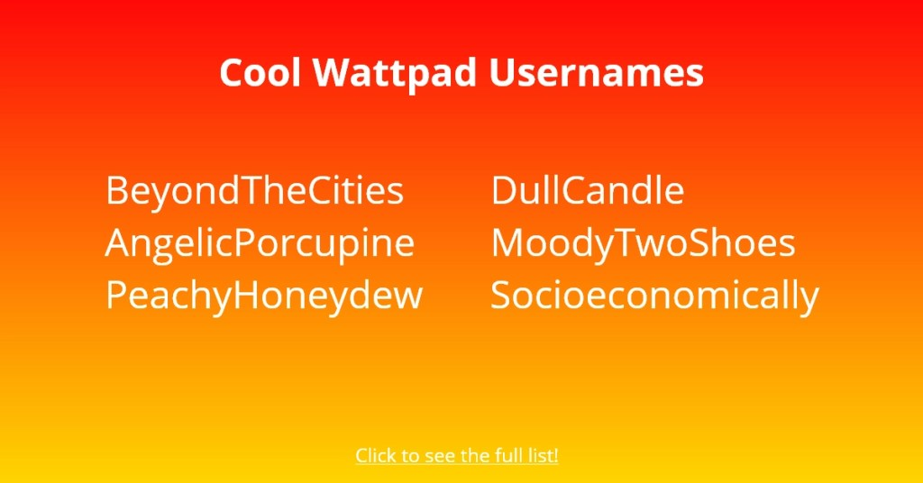 Cool Wattpad Usernames
