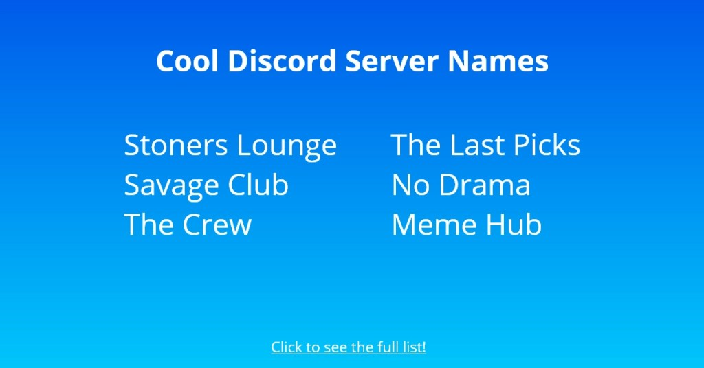 Cool Discord Server Names