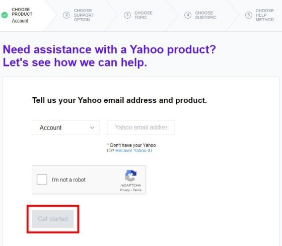 Yahoo contact page