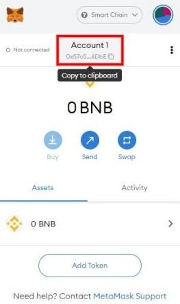 BNB wallet address on MetaMask