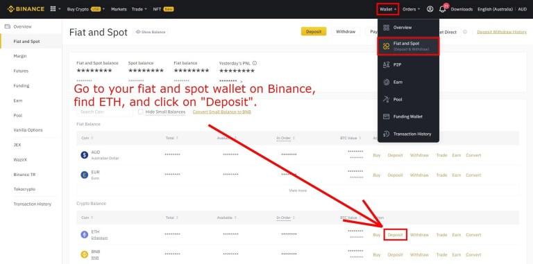 Deposit Ethereum on Binance