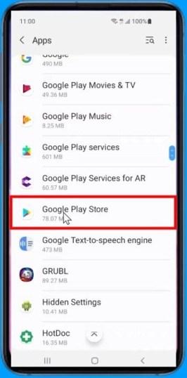 Google Play Store app settings