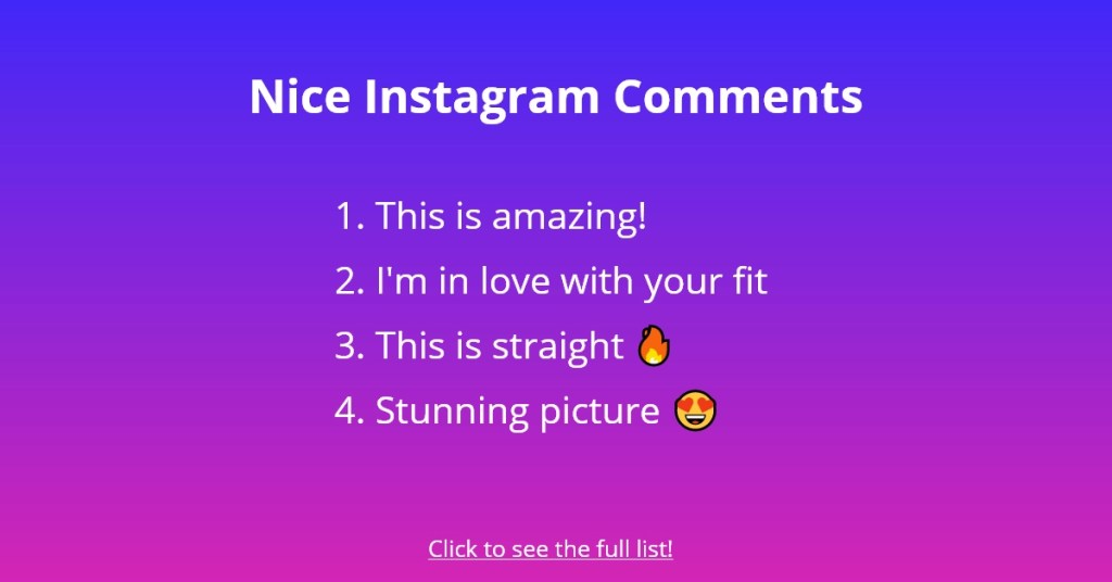 Nice Instagram Comments