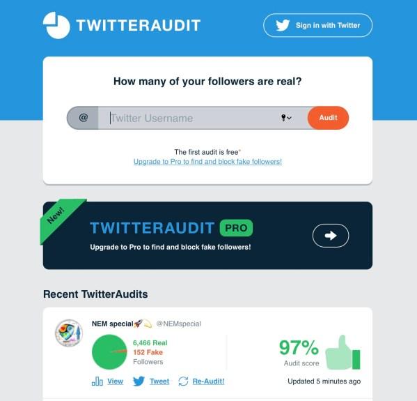 Twitter follower audit
