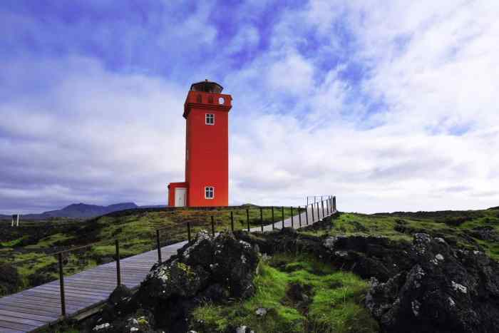 Orange lighthouse on Iceland's Snaefellsnes Peninsula