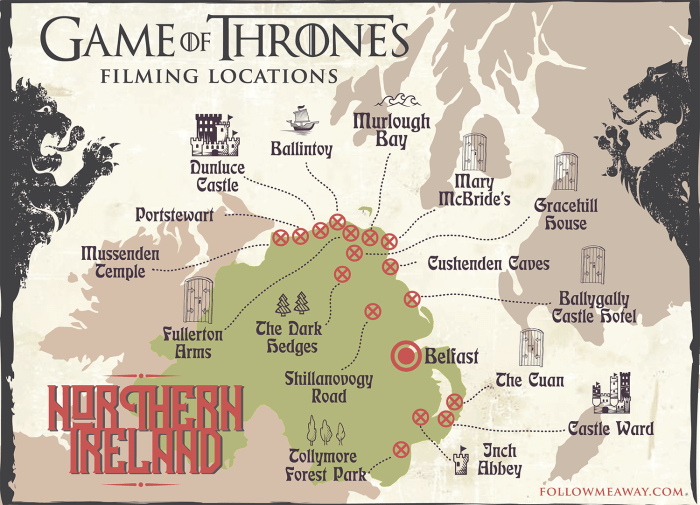 Game Of Thrones Locations Map In Ireland | Map of Game Of Thrones filming locations in Northern Ireland | Game Of Thrones filming locations map | how to plan a trip to see Game of thrones filming locations in Ireland | map of popular game of thrones filming locations in northern ireland #ireland #gameofthrones
